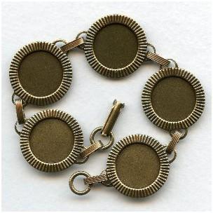 Bracelet Finding 15mm Settings Oxidized Brass