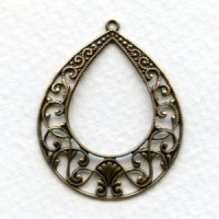 European Filigree Hoop Pendant 36mm Oxidized Brass