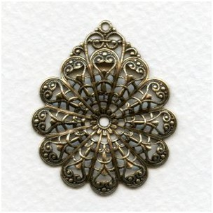 European Filigree Pendant 39mm Oxidized Brass (1)