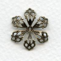 European Filigree Bead Caps Flowers Oxidized Brass 21mm (2)