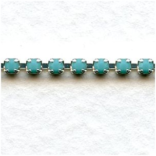 Rhinestone Chain Silver Turquoise Ss6 5 1 Ft