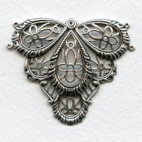 Victorian Style Large Connector 49mm Oxidized Silver (1)