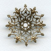 Dapt Snowflake Shaped Stamping Oxidized Brass 48mm (1)