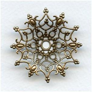 Dapt Snowflake Shaped Stamping Oxidized Brass 48mm (1)