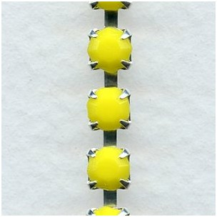 ^Cup Rhinestone Chain Silver Yellow SS18 Stones (1 ft)