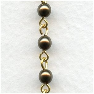 ^Bronze Pearl 4mm Beads Rosary Chain Brass Linkage (1 ft)