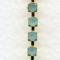 ^Cup Rhinestone Chain Gold Aqua Opal SS12 Stones (1 ft)