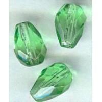 ^Peridot Fire Polished Glass Tear Drop Beads 10x7mm