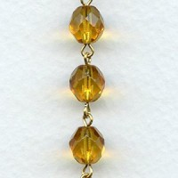^Amber Faceted 8mm Beads Rosary Chain Gold Linkage (1 ft)