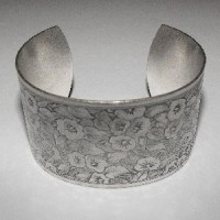 Floral Pattern 37mm Wide Cuff Oxidized Silver