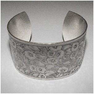 Floral Pattern 37mm Wide Cuff Oxidized Silver