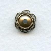 Elegant Filigree Bead Caps 9mm Oxidized Brass (12)