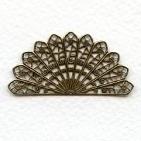 Filigree Fan Shape Oxidized Brass 44mm (6)