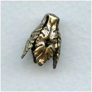 Openwork Leaf Detail Dramatic Bead Caps Oxidized Brass (6)