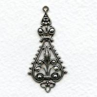 Filigree Pendant Drops 43mm Oxidized Silver (6)