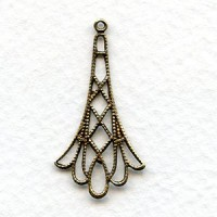 Filigree Drop Connectors Oxidized Brass 32mm (6)
