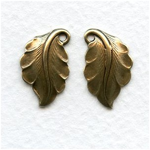 Right and Left Leaves Oxidized Brass 19mm (4)