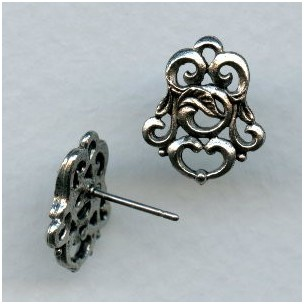 Florentine Scroll Earring Tops Oxidized Silver (2)