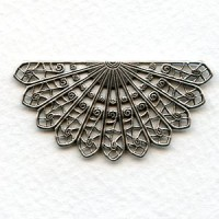 Filigree Fan Shape Oxidized Silver 44mm