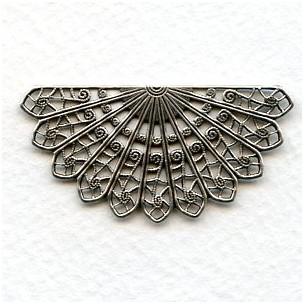 Filigree Fan Shape Oxidized Silver 44mm (6)