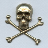 Large Skull and Crossbones Oxidized Brass 55mm (1)