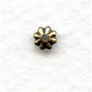 *World's Smallest Fluted Bead Caps 3mm Oxidized Brass (50)
