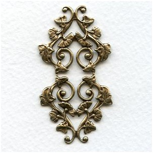 Morning Glory Motif Oxidized Brass Stamping (1)