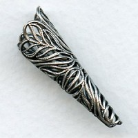 Grand Filigree Cone Bead Caps Oxidized Silver (2)