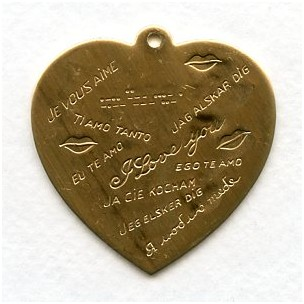 I Love You in Many Languages Raw Brass Heart Charm