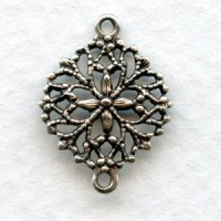 Round Filigree Connectors Oxidized Silver (12)