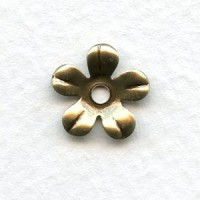 Smooth 5 Petal Flower Stampings Oxidized Brass 13mm (12)