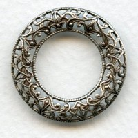 Filigree Domed Open Circle Oxidized Silver 28mm (3)