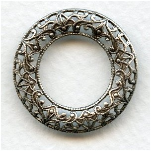 Filigree Domed Open Circles Oxidized Silver 28mm (3)