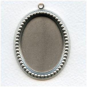 Beaded Edge Setting Pendant 40x30mm Oxidized Silver (1)