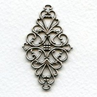 Diamond Shaped 44mm Filigrees Oxidized Silver (6)