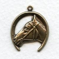 Horse and Horseshoe Pendant Oxidized Brass (4)