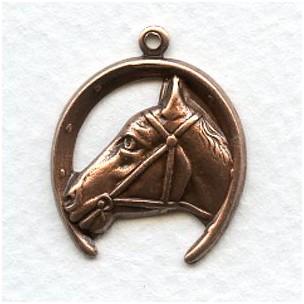 ^Horse and Horseshoe Pendant Oxidized Copper (4)