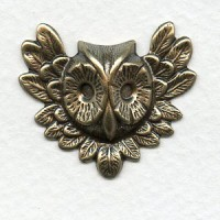 Feathered Owl Faces Oxidized Brass 31x27mm (4)