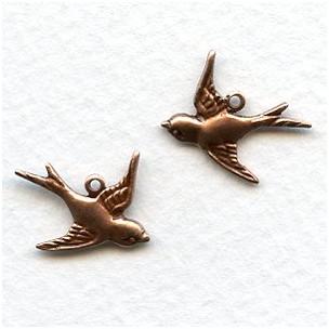 Flying Bird Pendants Oxidized Copper (6R 6L)