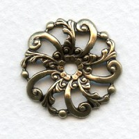 Swirls and Floral Dapt Filigree Round Brass 24mm (6)