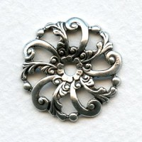 Swirls and Floral Dapt Filigree Oxidized Silver 24mm (6)