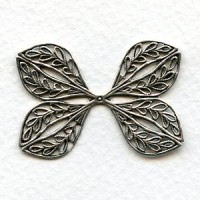 Ornate Filigree Flat Wings Oxidized Silver 38mm (1)