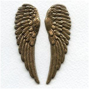 Detailed Large Wings Oxidized Brass 65mm (1 set)