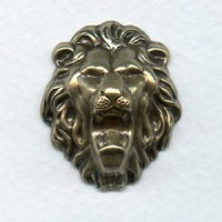 Head of A Growling Lion Oxidized Brass 30mm (1)