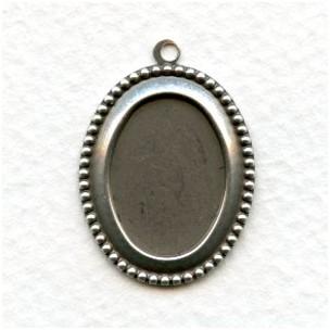 Beaded Edge Pendant Settings 18x13mm Oxidized Silver (6)