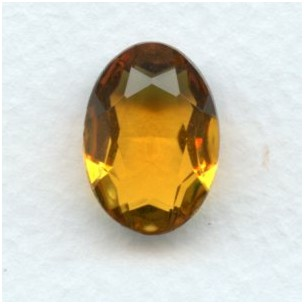 ^Topaz Color Glass Oval Unfoiled Jewelry Stone 18x13mm
