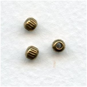 Fluted Solid Raw Brass Spacer Beads 3.5mm (24)