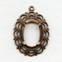 Filigree Open Back Settings 18x13mm Oxidized Copper (6)