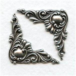 Fancy Victorian Corner Details Oxidized Silver (6)
