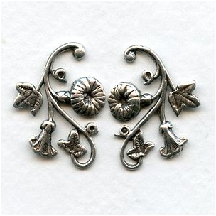 Morning Glory Right and Left Flourishes Oxidized Silver (1 Set)